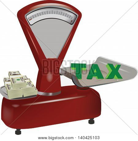 scale with dollar currency and tax fees payable