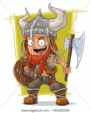 A vector illustration of cartoon redhead viking warrior