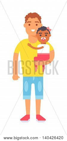 Father and son playing outdoors vector character. Happy father and cute son family leisure. Father and son smiling together and young parent father and son portrait recreation outside vacation.