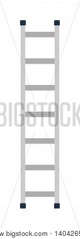 Construction ladder isolated and metal ladder over white construction ladder construction equipment. Stepladder construction ladder and work staircase construction ladder instrument.