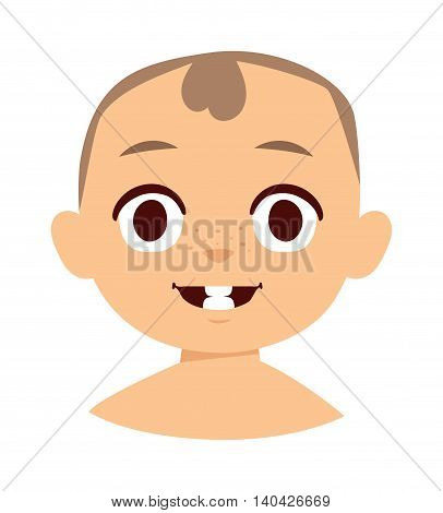 Child first two teeth and baby face first teeth character vector. Little cute baby first teeth and healthy infant first teeth. Funny beautiful adorable child expression baby white teeth.