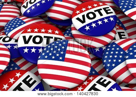 US Elections Concept - United States Flag and Vote Badges 3D Illustration