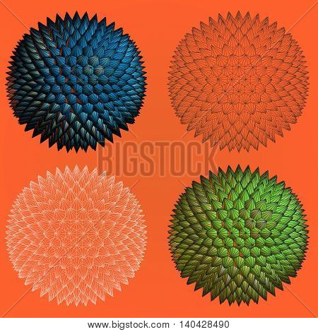Abstract spiky geometric shape four stye for graphic