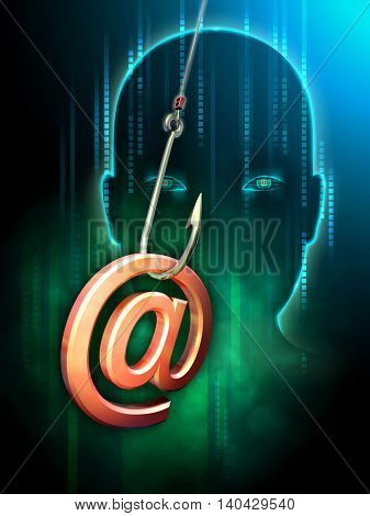 Hacker using email as a method to steal information. 3D illustration.