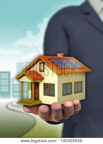 Businessman handing over a residential building. 3D illustration.