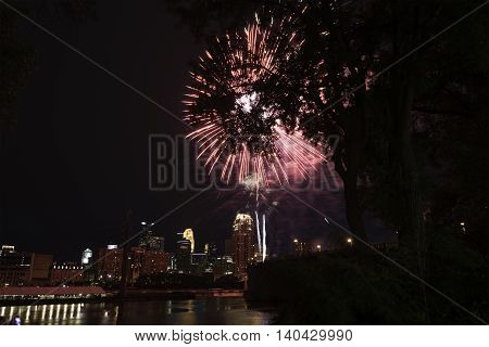 Fireworks over Minneapolis at Night in the Summer.