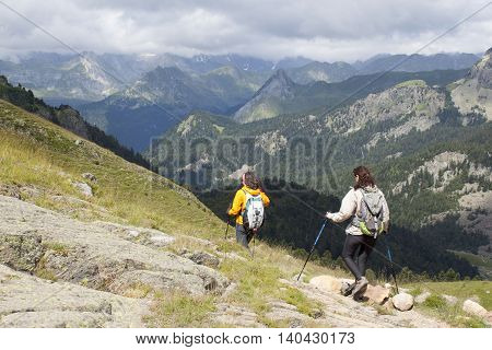 Mountaineers Going Down The Mountains In A Excursion In The Pyrenees, France