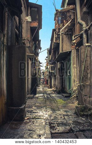 rundown dirty alley in bad neighborhood asia