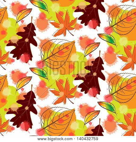 Abstract Colorful Autumn Leaf Seamless Pattern Background