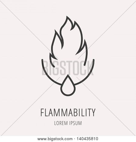 logo or label oil. Line style logotype template with flammability. Easy to use business template. Vector abstract logo or emblem.
