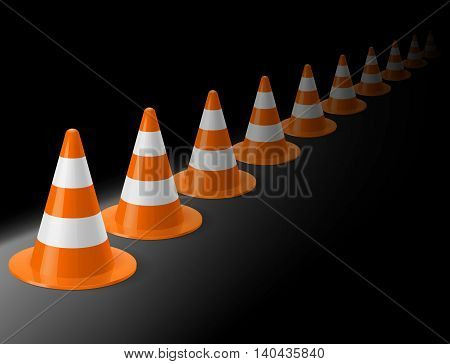 Row of white and orange traffic cones on black background. Safety sign used to prevent accidents during road construction