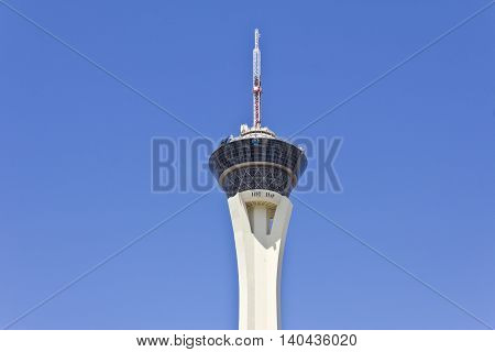Las Vegas - Circa July 2016: Stratosphere Tower the tallest freestanding observation tower in the US. The top of the tower has two observation decks a restaurant and four thrill rides II