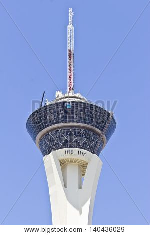 Las Vegas - Circa July 2016: Stratosphere Tower the tallest freestanding observation tower in the US. The top of the tower has two observation decks a restaurant and four thrill rides I