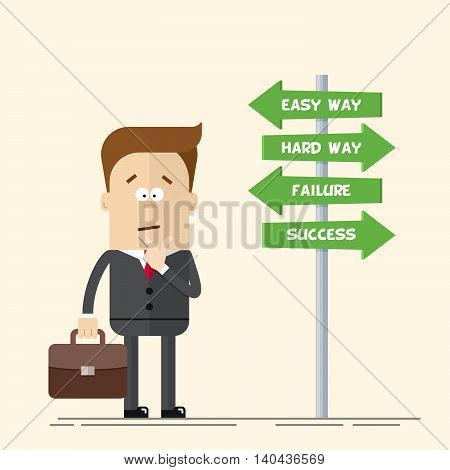 Businessman or manager has to choose the direction. Quick and easy way, or complex and difficult. A man in a business suit carrying a suitcase. Flat vector illustration in cartoon style