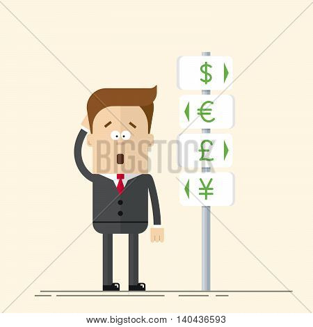 Businessman or manager has the choice of currency. Signs of global currencies. A man in a business suit makes a decision. Man thinks and scratches his head. Flat vector illustration in cartoon style