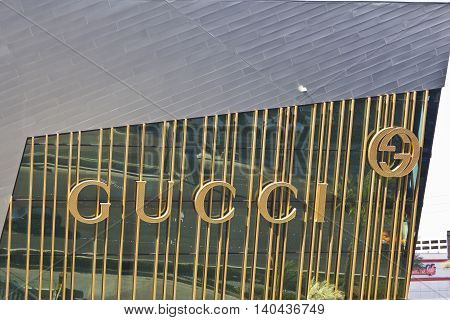 Las Vegas - Circa July 2016: Gucci Sign along the Strip. Gucci is known for its high end fashion accessories I