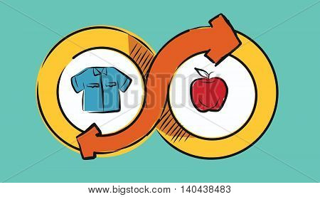 barter commerce trade transaction economic concept exchange swap goods drawing illustration vector