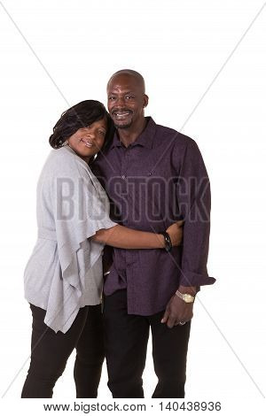 Portrait of a middle aged couple together isolated on white