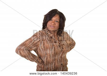 Middled aged woman isolated on a white background