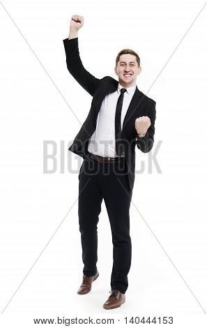 Very horny European man businessman with hands raised up .