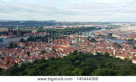 On top of Prague, Czech Republic. Petrin tower. Summer.