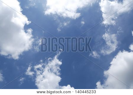 cloudy sky background with center copy space.