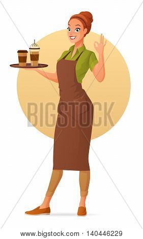Beautiful barista waitress holds a tray with cups of hot and ice coffee showing ok sign gesture. Cartoon vector illustration isolated on white background.