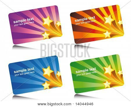 set of colorful star cards