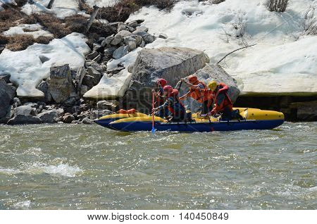 Rafting team float down the Irkut river. Buryatia, Sayan foothills