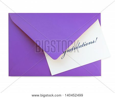 congratulations card and pruple envelope, isolated on White