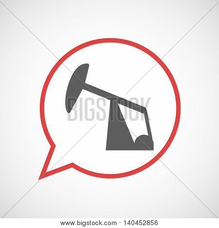 Isolated Comic Balloon Line Art Icon With A Horsehead Pump