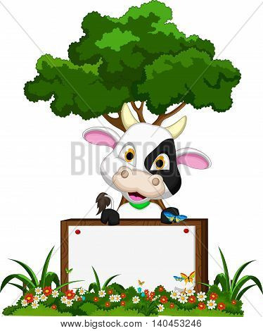 baby cow cartoon posing with blank sign and forest background