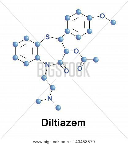 Diltiazem is a nondihydropyridines calcium channel blocker used in the treatment of hypertension, angina pectoris, and some types of arrhythmia. Vector medical illustration.