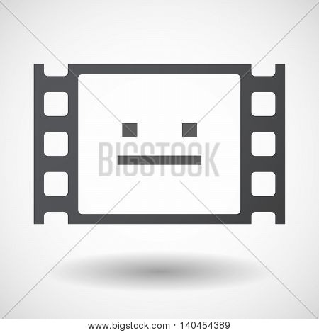 Isolated 35Mm Film Frame With A Emotionless Text Face