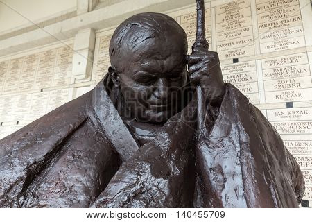 CRACOW; POLAND - JULY 22; 2016: the bust - In homage to John Paul II by Anna Gulak in the Centre of Pope John Paul II in Lagiewniki before WYD 2016.Cracow Poland