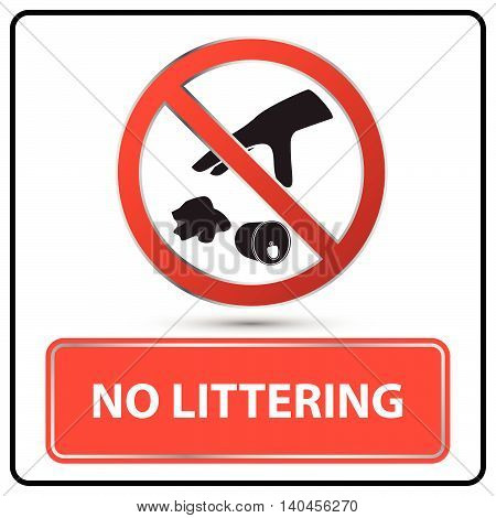 no littering sign and symbol vector illustration