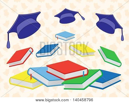 Colourful new book and flying mortar boards on the seamless background with stylized owls vector illustration