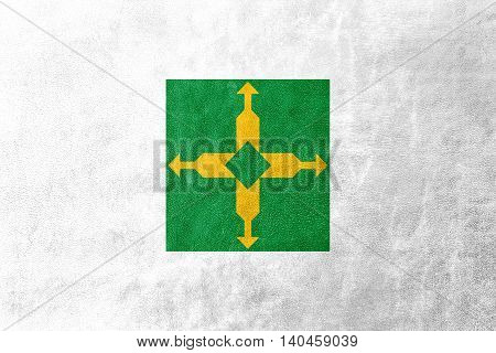 Flag Of Brasilia, Distrito Federal, Brazil, Painted On Leather Texture