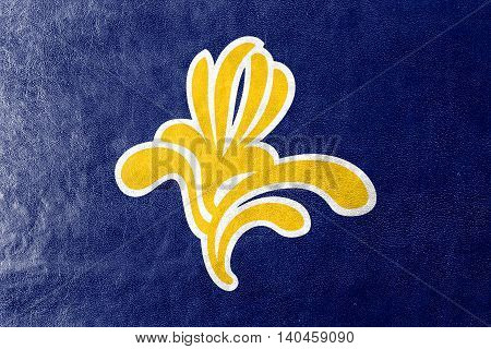 Flag Of Brussels Region, Belgium 1991 - 2015, Painted On Leather Texture