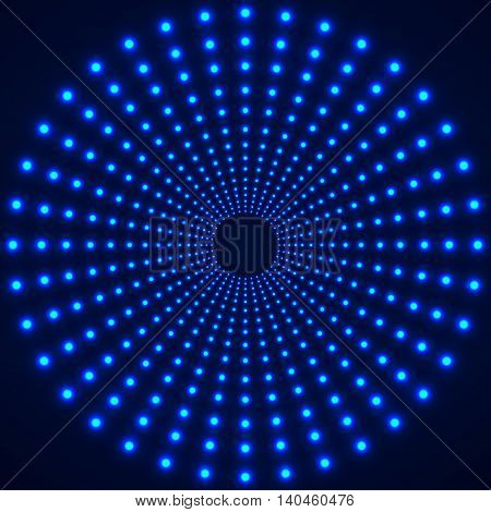 Abstract technology background of glowing circles. Vector illustration