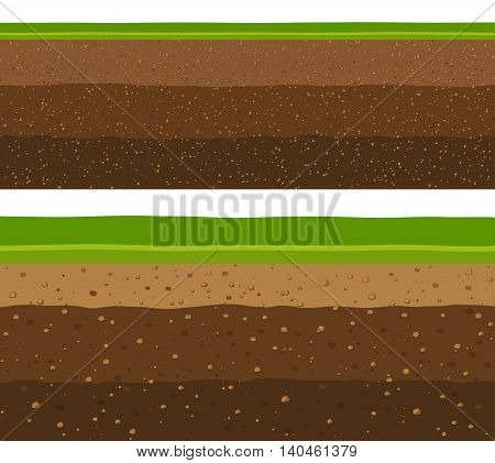 Layers of grass with underground layers of earth seamless ground surface design.