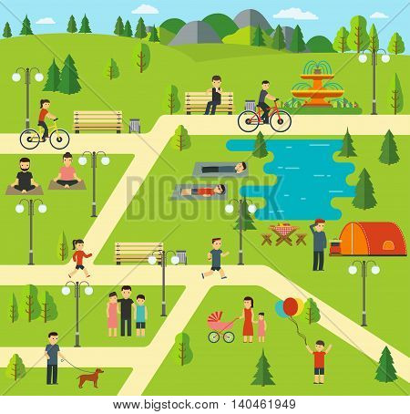 Public park Camping in the park picnic biking walking the dog in park yoga sessions family holiday in nature.
