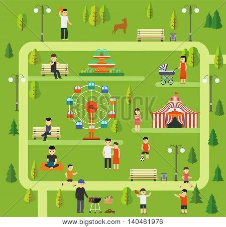 Public park Camping in the park picnic walking the dog in park running in park Rest on the rides in park family holiday in nature.