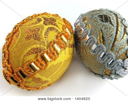 Two Easter Egg Gold And Silver