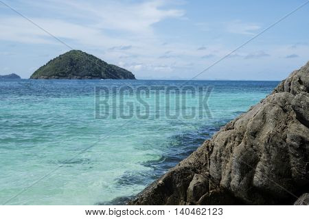 Beautiful view of crystal clear sea and rocks of tropical island, Koh He, Thailand