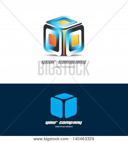 Vector company logo icon element template orange blue cube 3d design games media corporate business