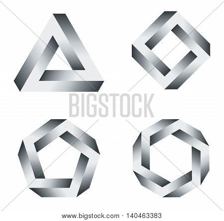 Penrose triangle and polygons with black and white gradients. Penrose tribar, an impossible object, appears to be a solid object. Further square, pentagon and hexagon. Illustration on white.