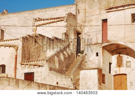 Detail of the ancient Sassi of Matera in Basilicata - Italy