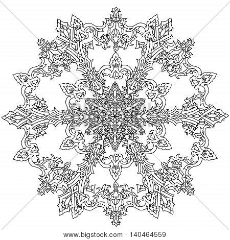 Circle ornament of snowflakes in shape of mandala for adult coloring book or for zen anti stress drawing. Hand-drawn, vector, outline detailed mandala, for coloring book, t-shirt poster or design