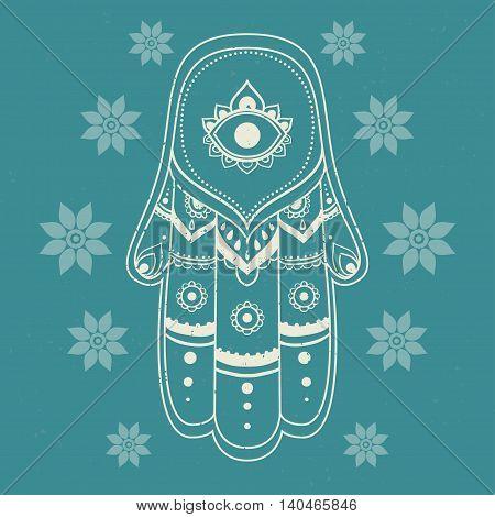 Ornament card with hamsa. Geometric circle element made in vector.Hamsa pattern symbo traditional, kaleidoscope, medallion, yoga, india, arabic